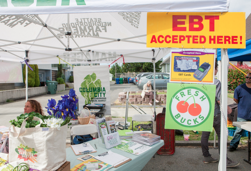 food access booth at farmers market
